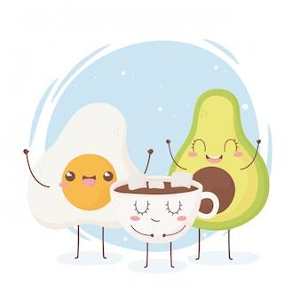 目玉焼きアボカドチョコレートカップかわいい食べ物漫画のキャラクター