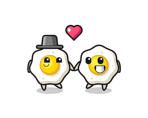 Жареное яйцо мультипликационный персонаж пара с жестом влюбленности, милый стиль дизайна для футболки, наклейки, элемента логотипа
