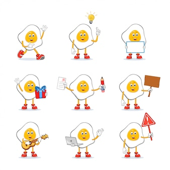 Fried egg cartoon mascot character set collection