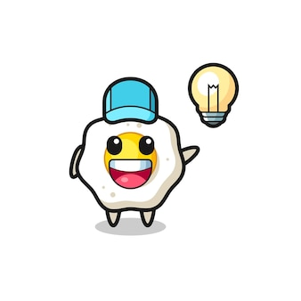 Fried egg character cartoon getting the idea , cute style design for t shirt, sticker, logo element