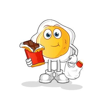 Жареные яйца есть шоколадный талисман мультипликационный персонаж