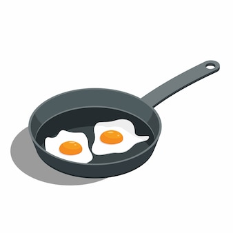 Fried egg on a frying pan
