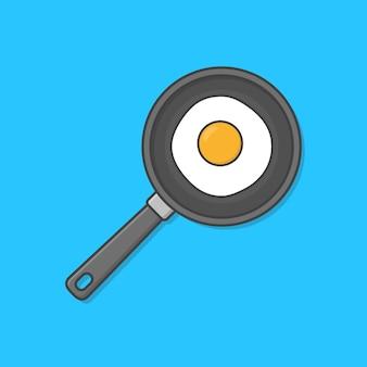 Жареное яйцо в сковороде, изолированные на синем