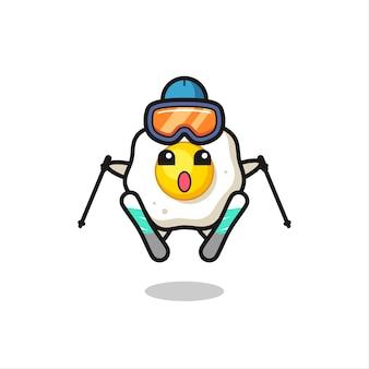 스키 선수로서의 계란 후라이 마스코트 캐릭터, 티셔츠, 스티커, 로고 요소를 위한 귀여운 스타일 디자인