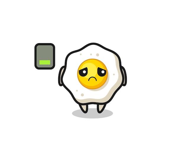 지친 몸짓을 하는 계란 후라이 마스코트 캐릭터, 티셔츠, 스티커, 로고 요소를 위한 귀여운 스타일 디자인