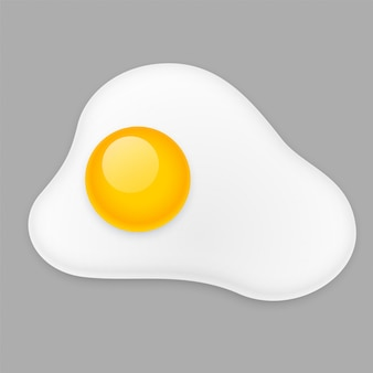 Fried egg omelette isolated on gray