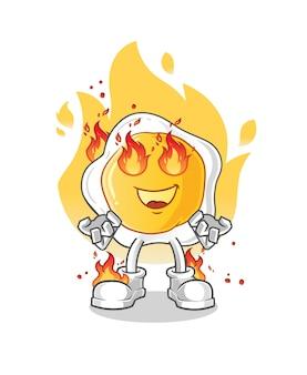 Жареное яйцо в огне талисман мультипликационный персонаж