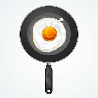 Fried egg on pan, vector illustration