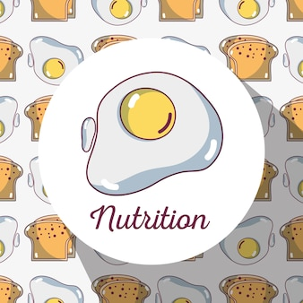 Fried egg protein with bread background design