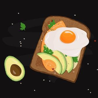 Иллюстрация еды сандвича яичницы.