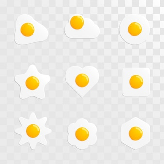 Fried egg shape variant set vector image