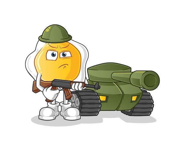 Солдат-яичница с персонажем мультфильма танк