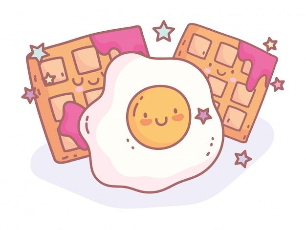 Fried egg and waffle with jam menu restaurant cartoon food cute