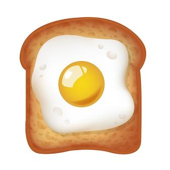 Жареное яйцо с тостами изолированные