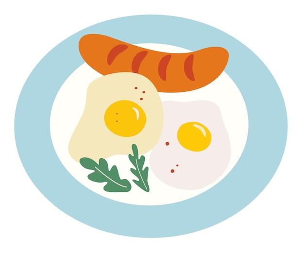 접시에 튀긴 계란과 튀긴 소시지입니다. 아침 식사 시간. 집에서 만든 영국식 아침 식사. 만화 플랫 스타일입니다. 벡터 일러스트 레이 션.