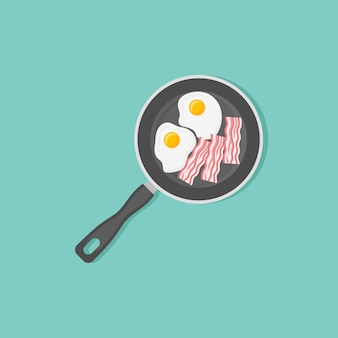 Fried eggs and bacon strips in frying pan in flat style
