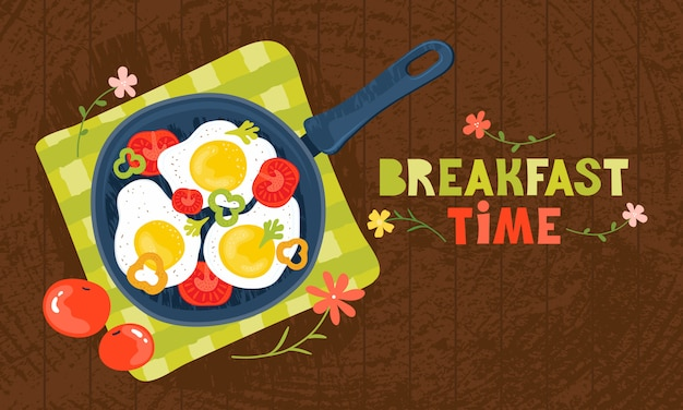 Fried eggs in a frying pan with vegetables, tomatoes, peppers. healthy brunch with fresh homemade meal on a wooden table. traditional food. horizontal banner template with lettering breakfast time