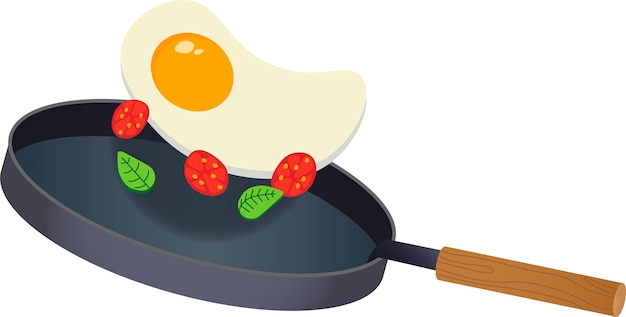 Fried eggs on the griddle with tomatoes