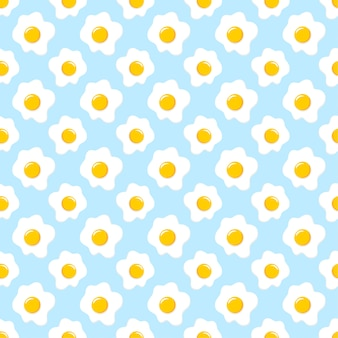 Fried eggs seamless pattern