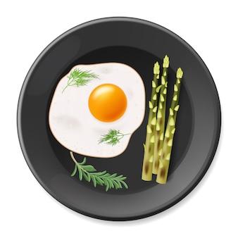 검은 접시에 아스파라거스와 튀긴 계란입니다. 삽화