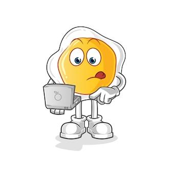 ノートパソコンのマスコットと目玉焼き。漫画