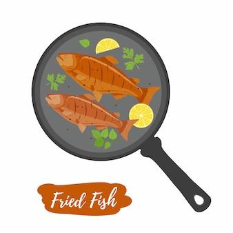 フライパンで魚のフライ Premiumベクター