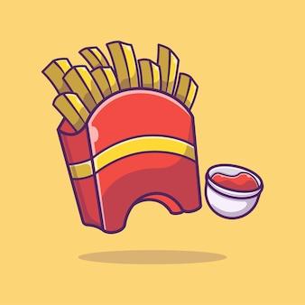 フライドポテトとソースの漫画イラスト。ファストフード