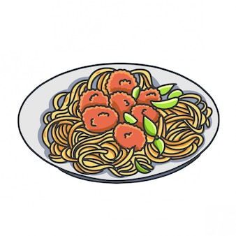 Fried noodle cartoon handran illustration