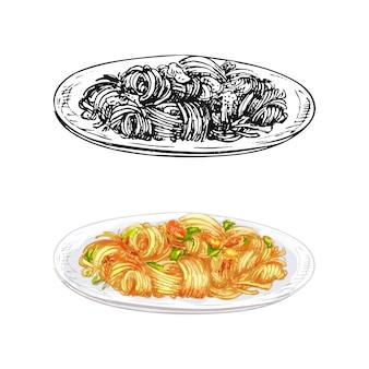Жареная лапша на тарелке. винтаж вектор штриховки рисованной иллюстрации изолированные
