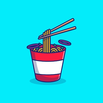 Жареная лапша векторные иллюстрации дизайн в миске