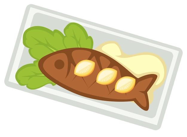 사워 크림 소스와 샐러드 잎과 함께 제공되는 튀긴 또는 구운 생선. 레스토랑이나 식당에서 해산물. 영양과 다이어트, 야외에서 건강한 식사. 격리 된 구운된 hake입니다. 평면 스타일의 벡터