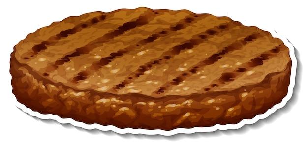 Un adesivo di bistecca fritta su sfondo bianco Vettore gratuito