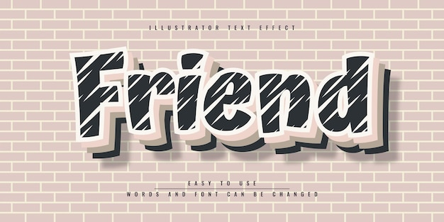 Редактируемый дизайн шаблона 3d текстового эффекта friend illustrator