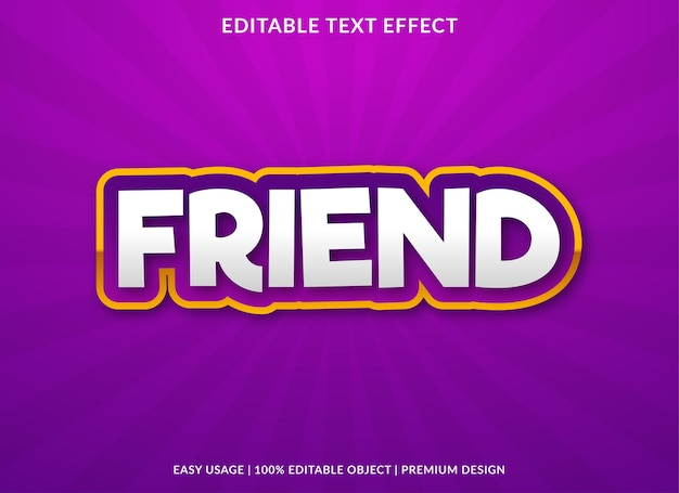 Friend text effect template with bold style