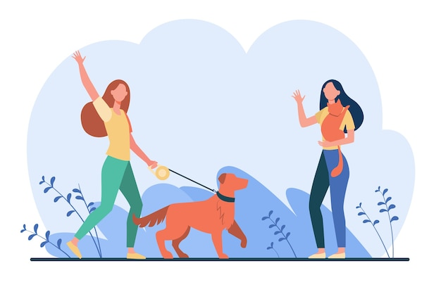 Friend walking with pets, meeting and waving hello. women with dog and cat outside flat illustration.