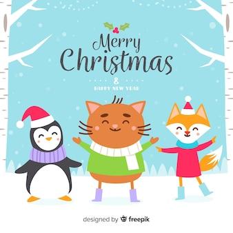 Friendly animals christmas background