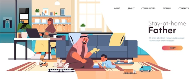 Friendly arab family spending time together mother using laptop father playing with little son at home parenting concept modern kitchen interior horizontal full length copy space vector illustration