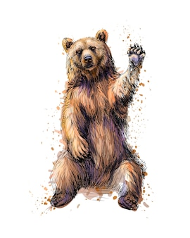 친절 한 갈색 곰 앉아서 수채화의 스플래시에서 발을 흔들며 손으로 그린 스케치. 그림 물감