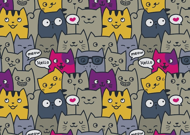 Friendly cats pattern doodle background