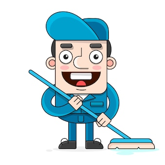 Friendly cleaner dressed in work clothes, he has a mop illustration