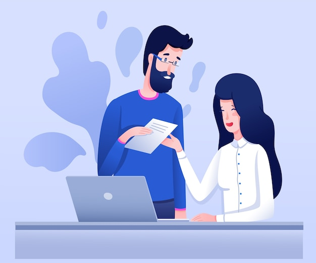 Friendly colleagues  illustration, young businesswoman and businessman cartoon characters. female entrepreneur, secretary receiving report, business company employees cooperation