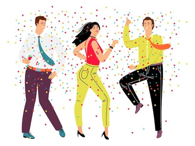 フレンドリーなダンスパーティー。漫画の幸せなキャラクターは、流行のビジネスコスチューム、紙吹雪で踊る人々、チームワークと休息の概念で祝います
