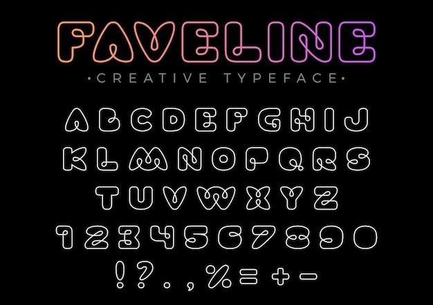 タイトル、ヘッダー、レタリング、ロゴ、モノグラムのフレンドリーなデザインの線形フォント。ラインアートスタイル。