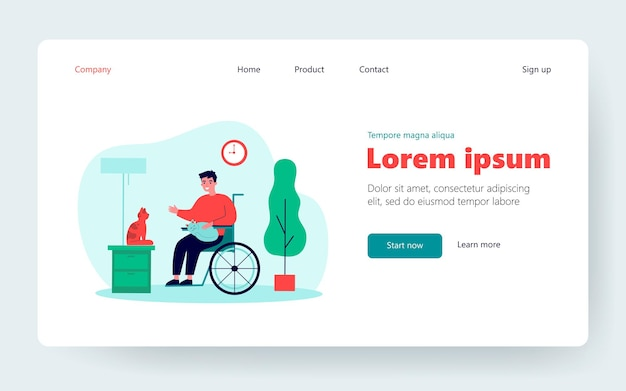 Friendly disabled guy keeping cats. person on wheelchair, pets, home flat vector illustration. disability, animals care, therapy concept for banner, website design or landing web page