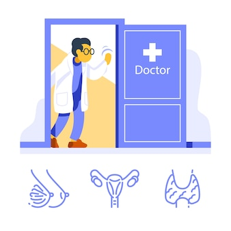 Friendly female doctor at open door welcoming, visit specialist, annual health checkup, medical examination room