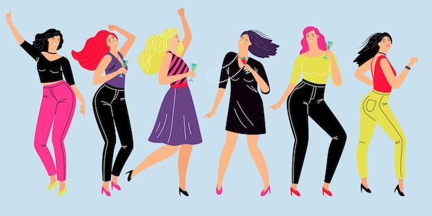 フレンドリーな女性のパーティー。チームワーク、流行の衣装で踊り、ワインを飲むガールフレンドのベクトルイラストライフスタイルの後に漫画の幸せな女の子が休む