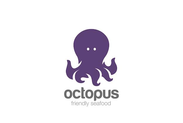 Дружелюбный забавный логотип осьминога.