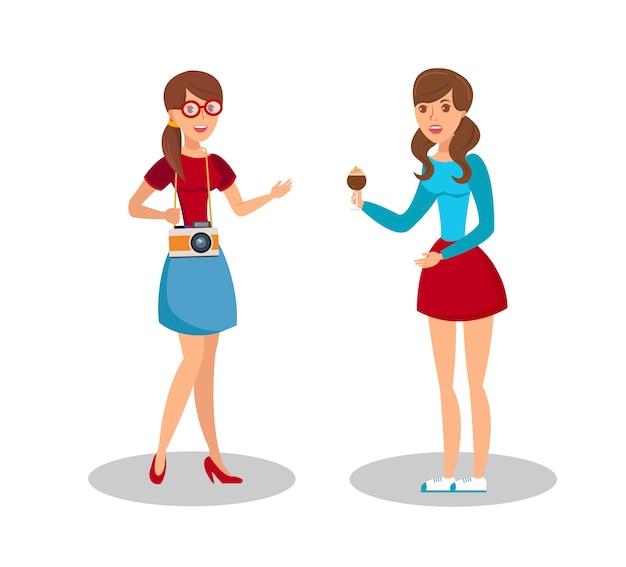 Friendly girls meeting flat color illustration