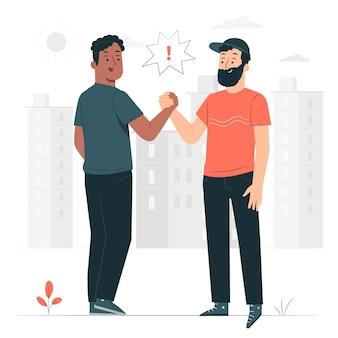 Illustrazione del concetto di stretta di mano amichevole