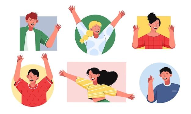 친절 한 행복 한 사람들 평면 그림을 설정합니다. 남자와 여자는 손을 흔들고 웃고. 남성과 여성의 초상화 컬렉션 만화.